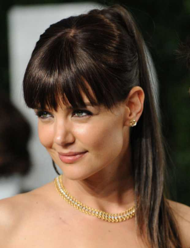 Celebrity summer hairstyle Katie Holmes' Ponytail and fringes