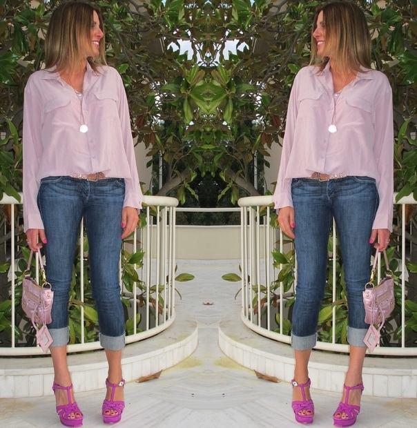 Pink YSL tribute, Pink Equipment silk shirt, Balenciaga satin bag