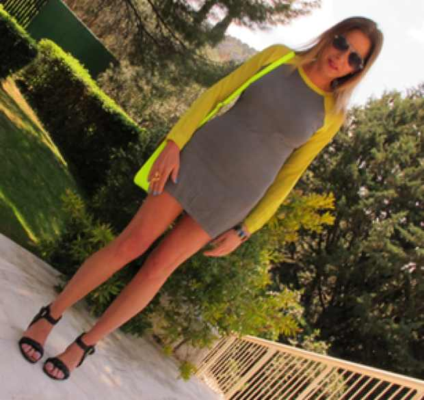 Yellow Neon Bright The Cambridge Satchel Company, Topshop Grey Dress