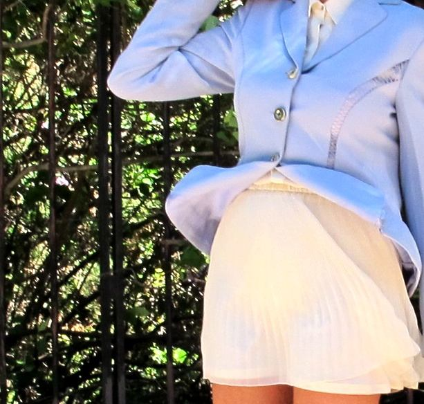 mini skirt and lavender tailored Moschino jacket