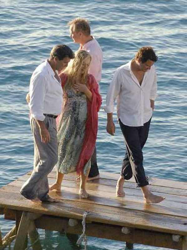 Meryl Strip and Pierce Brosnan in Kastani Skopelos