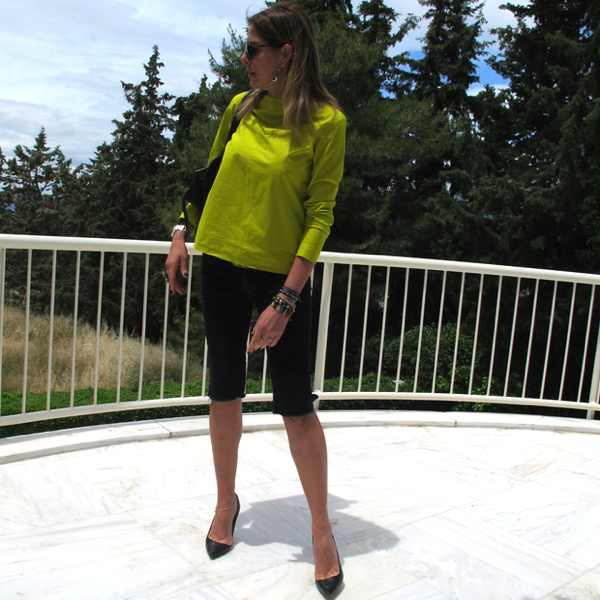 Cos Lime top JBrand bermuda shorts outfit