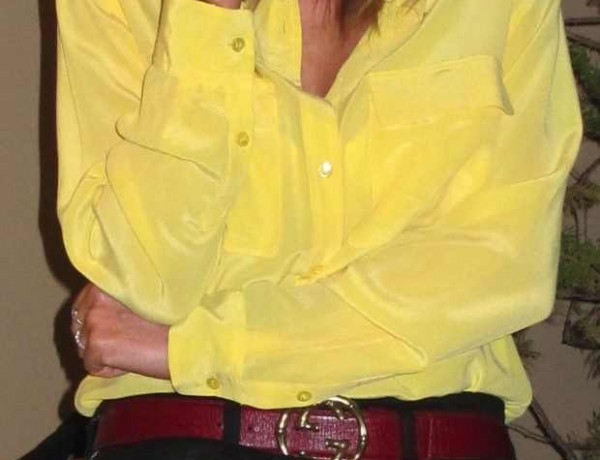 Equipment yellow silk shirt, Gucci red belt