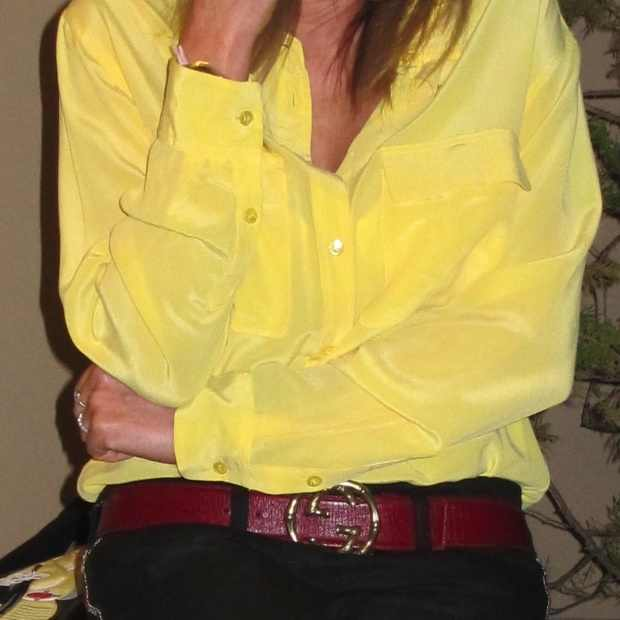 Equipment yellow silk shirt