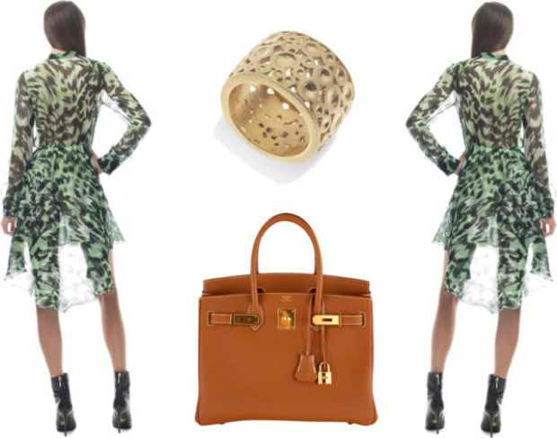 Green dress,  Francesco Scognamiglio, ring Freddie Cinnamon, Hermes bag collage