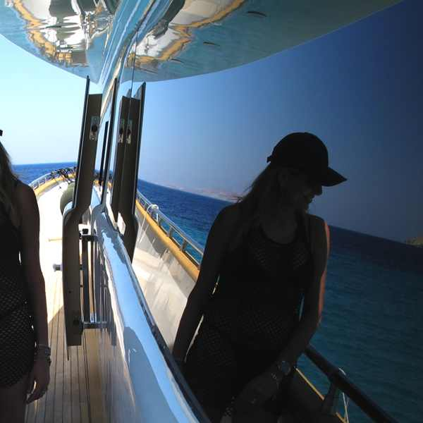 Isabel Marant Fishnet top Prada black bikini
