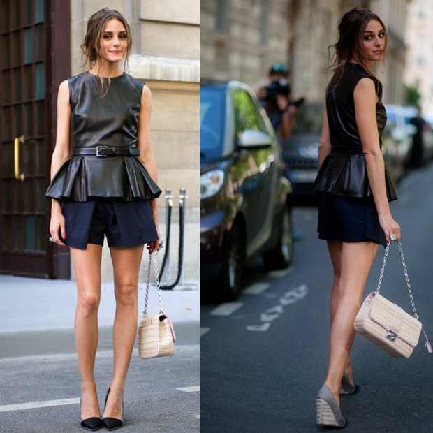 Olivia Palermo wearing peplum top in Paris