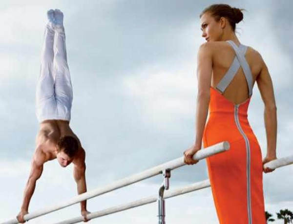 Olympic Gymnast Jonathan Horton Photographed with Model Karlie Kloss Vogue