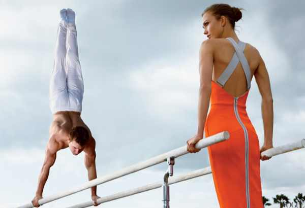 Olympic Gymnast Jonathan Horton Photographed with Model Karlie Kloss Vogue