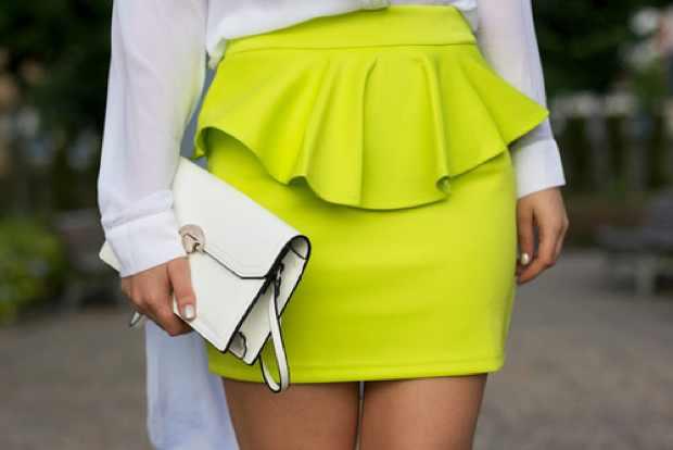 Peplum skirt yellow