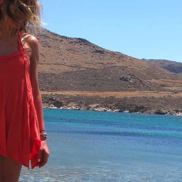 Serifos, Beach, Greece orange dress blue sea