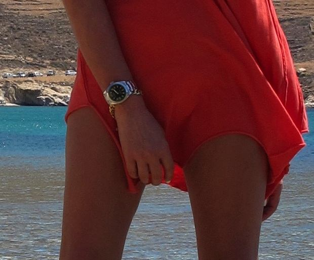 Serifos, beach,orange dress