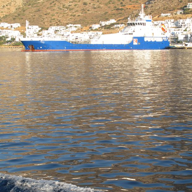 Sifnos Greece blue boat