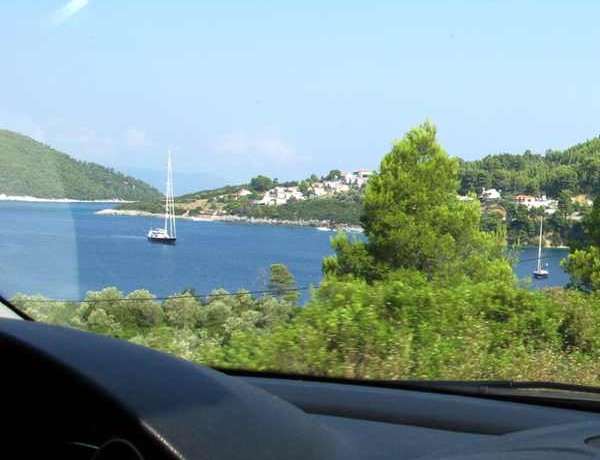 Driving to Skopelos Beach