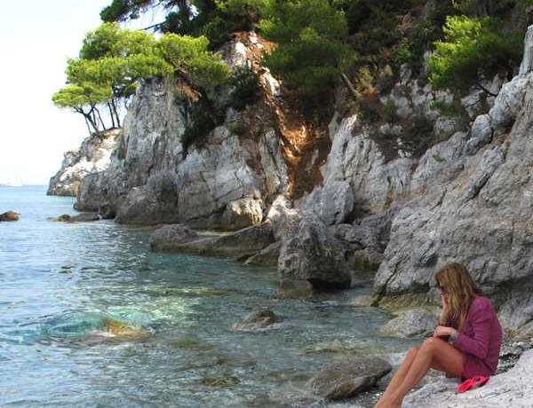Skopelos Beach Isabel Marant dress Miu Miu shoes