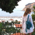 Skopelos, White Cover up summer dress, Prada bag
