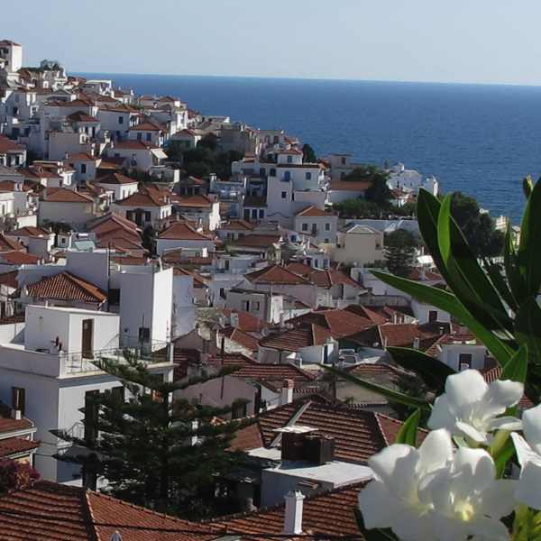 Skopelos houses sea
