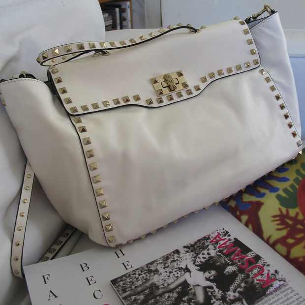 Valentino White studded bag