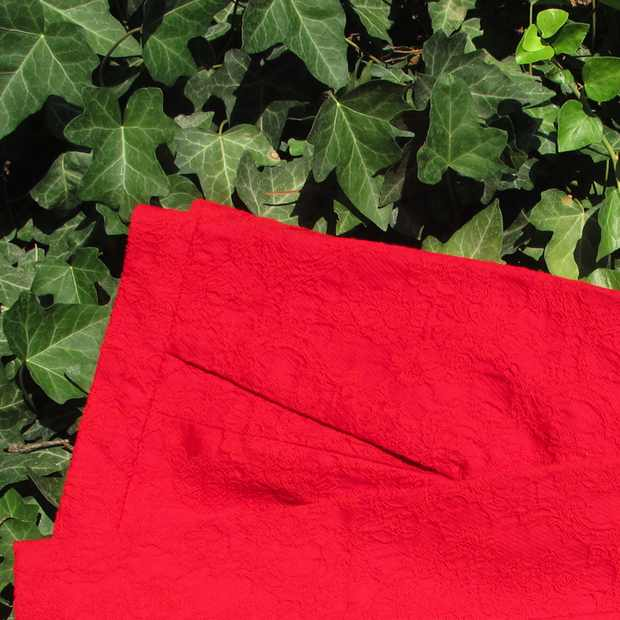 Zara Red Pants green leaves
