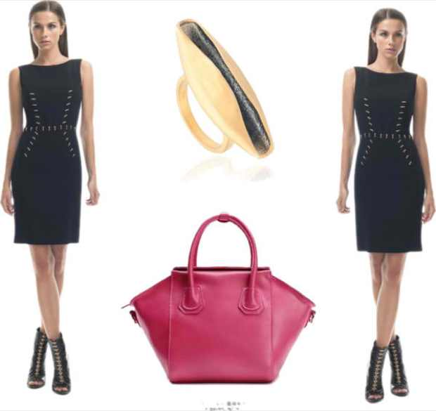 black dress,  Francesco Scognamiglio, red bag and ring Freddie Cinnamon collage