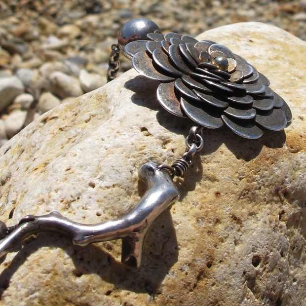 bracelet, coral, flower silver