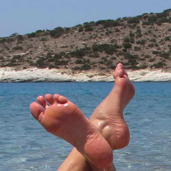 feet, boat, sea, Poliegos, Cyclades, Greece