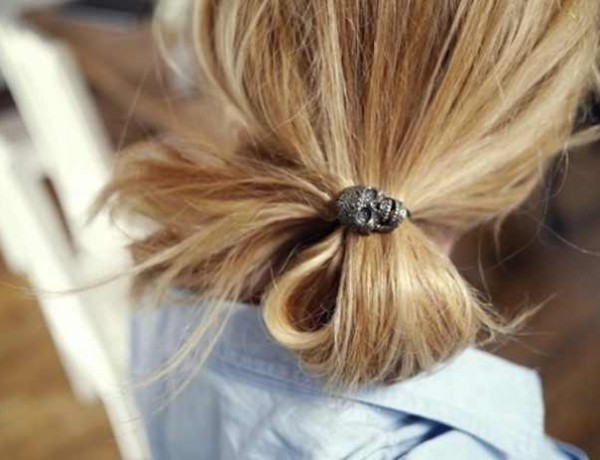 ponytail skull black diamonds hair clip