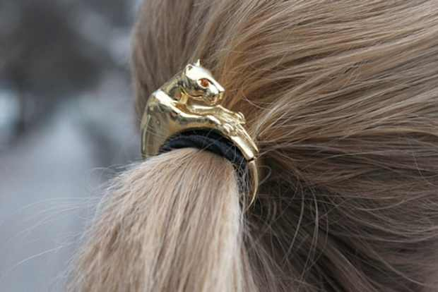 Ponytail hair clip panther