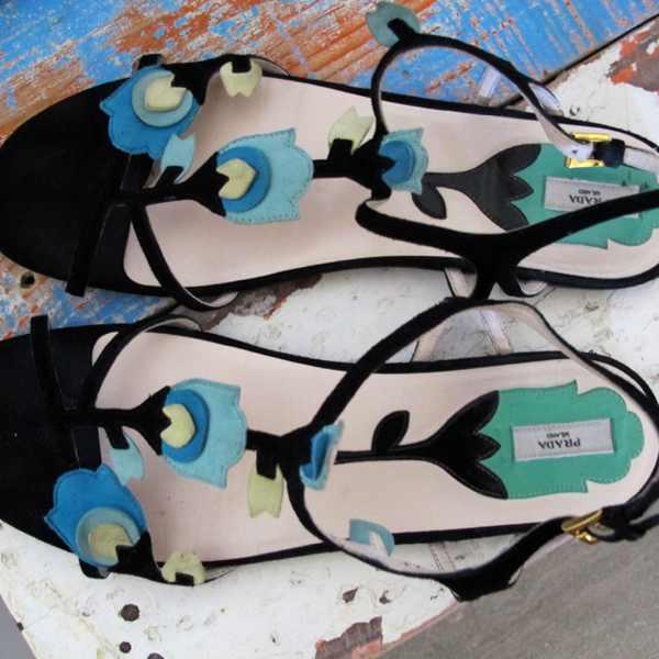 prada sandals blue flower