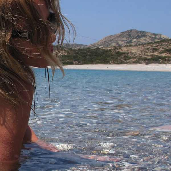 swimming, profile,sea, Poliegos, Cyclades, Greece