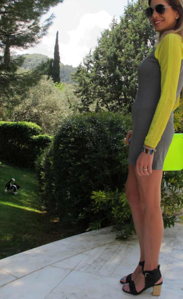 Bright neon and grey Topshop Dress
