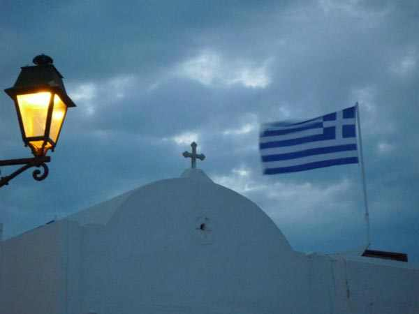 Paros, Naousa, Church, Greek flag