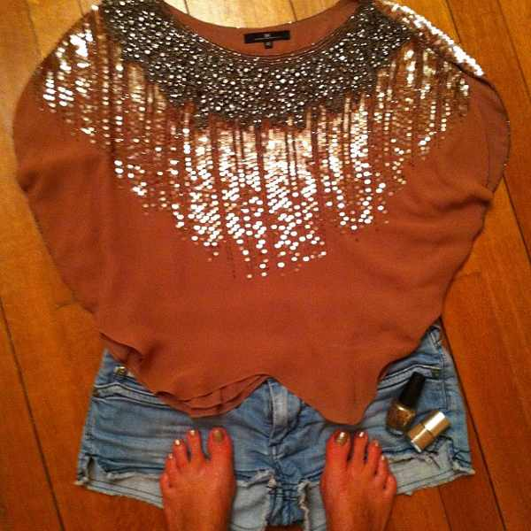 Elisabetta Franchi embellished top matched with stitch's jean shorts