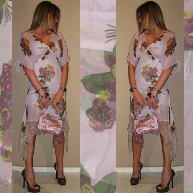 Floral pastel evening dress