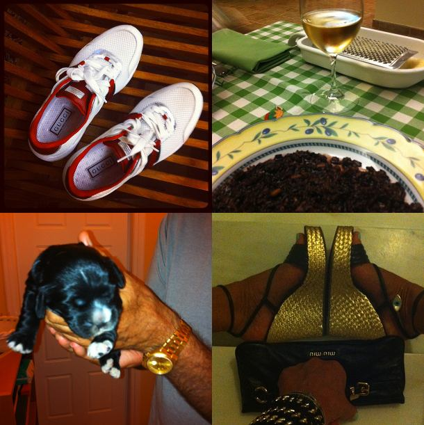 Gucci sneakers, risotto black, olivia puppy, gold black espadrille