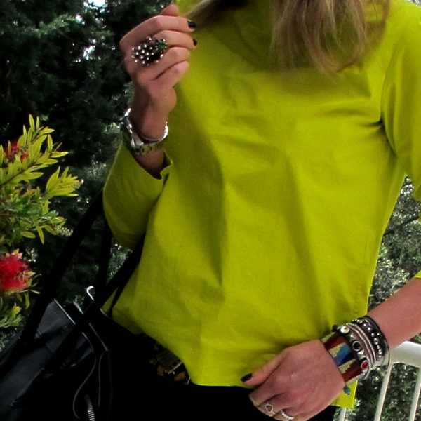 Jewelry-Rings-bracelets, casual lime color blocking