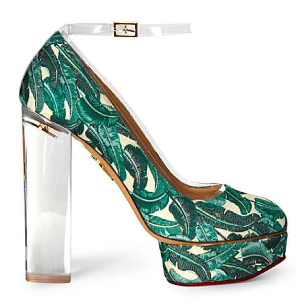 Mabel printed canvas platform pumps with  palm trees and a plexi-glass heel