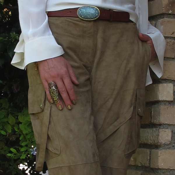Outfit leather cargo pants belt,ring