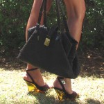 Prada Plexiglass heel vintage sandals and Bottega Veneta brown handbag