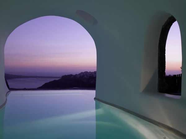 Santorini, Perivolas Suites hotels interior sunset arc