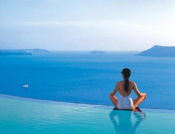 Santorini, Perivolas Suites hotels swimming pool girl