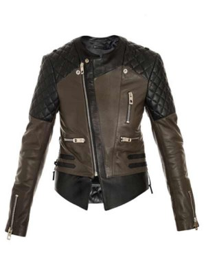 BALENCIAGA Quilted shoulder biker jacket