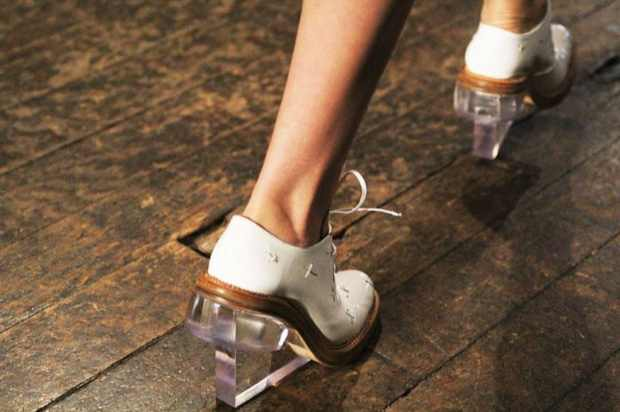 White shoes see-through plexiglass heels