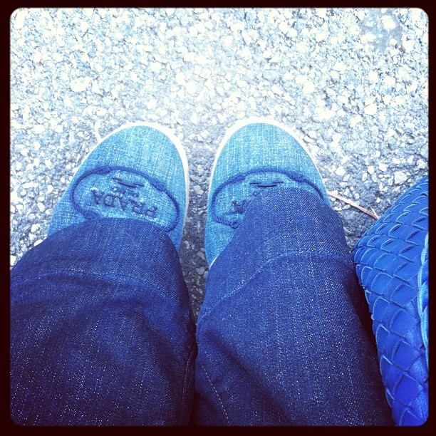 Denim on Denim Espadrilles Prada and JBrand love story jeans