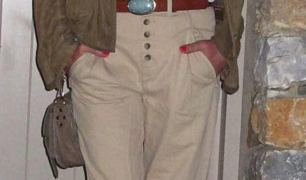 Out of Africa Outfit, beige Prada jacket leather and chinos
