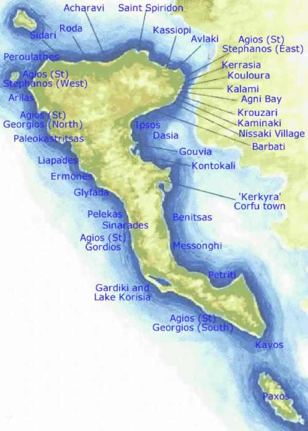 Карта острова корфу на русском языке