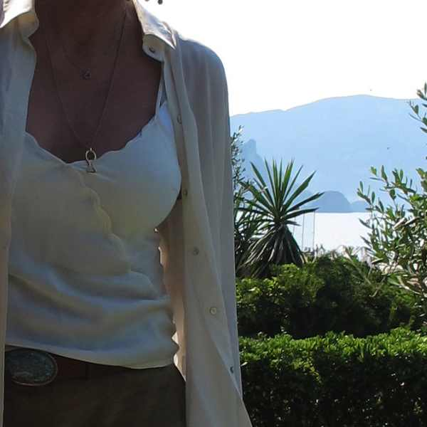 top Armani, shirt Zara, necklace fish Glyfada Corfu