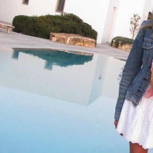 white skirt blue jeans jacket Pool