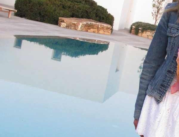 Paros, white skirt blue jeans jacket Pool