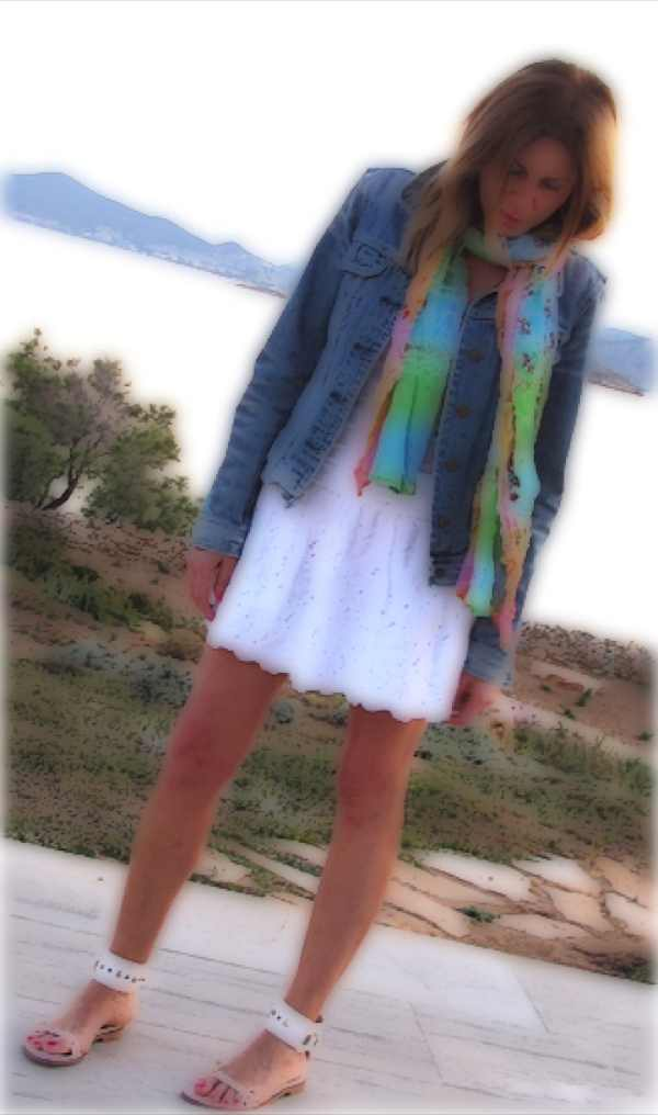 white skirt blue jeans jacket Sea painting